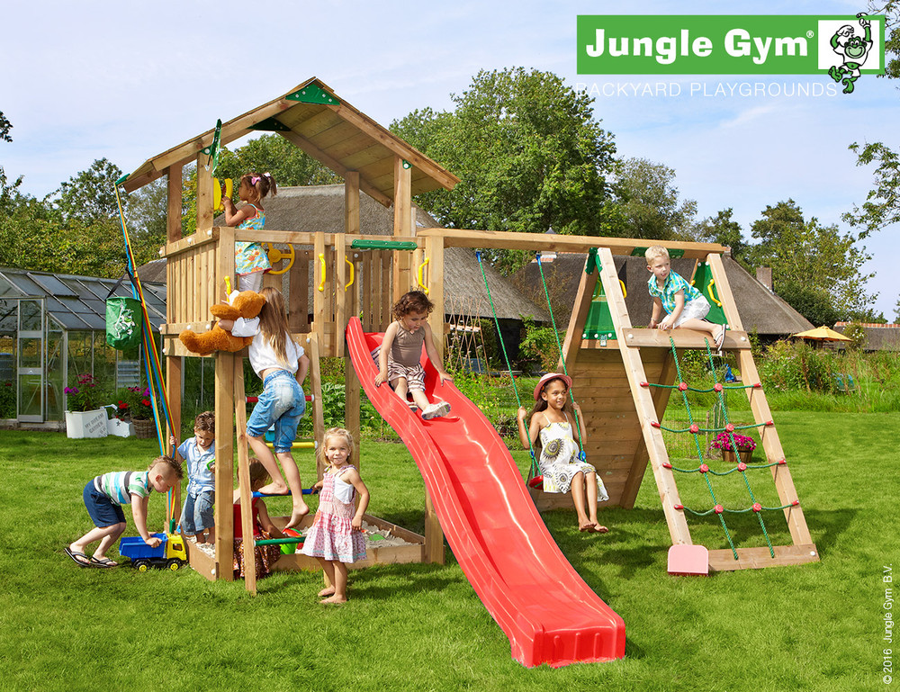 wooden-climbing-frame-and-slide-chalet-climb-xtra-red